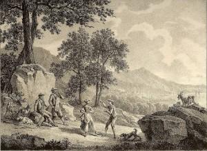Bucólica imagen vasca de danzantes entre un rebaño de cabras. Cortesía del Museo Zumalakarregi