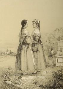 Típica estampa de mozas en la fuente, en este caso de Bizkaia, localizable en el Album del s. XIX que gestiona el Museo Zumalakarregi.